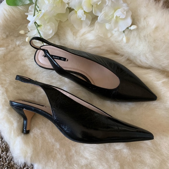 Black Kitten Heel Slingback Shoes